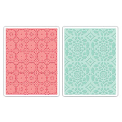 Embossing Folders 2PK - Fleur Tile & Kaleidoscope Crescents Set