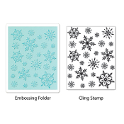 Embossing Folder w/Stamp - Snowflake Background Set