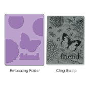 Embossing Folder w/Stamp - Collage Background Set