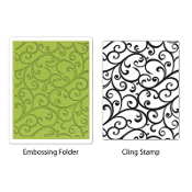 Embossing Folder w/Stamp - Flourish Set